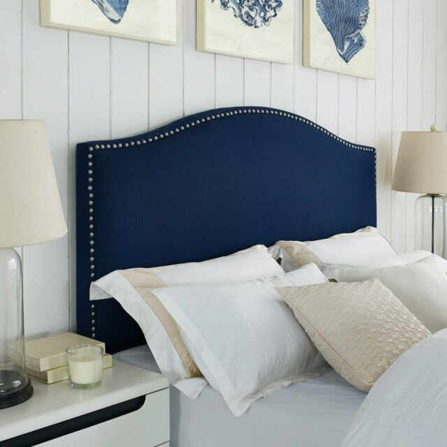 upholstered headboard full queen linen bed tufted nailhead trim panel arch navy