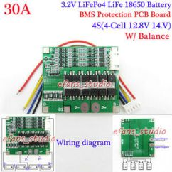 4s Bms Wiring Diagram 7 Pin Flat Trailer With Brakes 30a 12 8v Lifepo4 Life 18650 Battery Charger Protection Pcb Board Image Is Loading