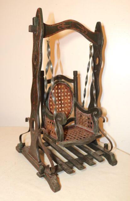 woven rocking chair teen bedroom vintage handmade miniature wicker carved wood doll swing