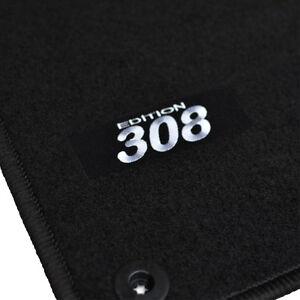 details sur 4 tapis sol peugeot 308 308sw 2007 2013 moquette logo blanc specifique