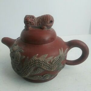 VTG Chinese Handmade Clay Yixing Zisha Teapot Dragon and Phoenix Marked