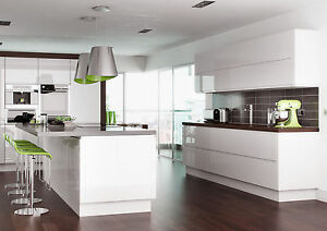 Complete Fully Assembled Lucente Gloss White Handleless Kitchen