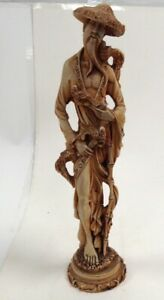 Vintage Oriental Bearded Chinese Man Elder With Pigeons Carved Statue Sculpture