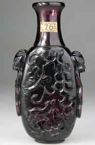 ANTIQUE SUPERB CHINESE VASE PEKING GLASS CARVED Qianlong - QING 18TH 19TH C.