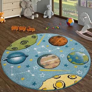 details sur tapis enfant chambre enfant tapis rond poils ras pastel planetes espace bleu
