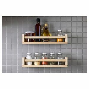 kitchen spice rack dining room sets pine jar storage wall mounted wooden shelf solid image is loading