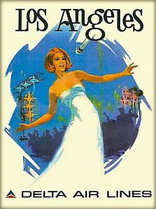 details about los angeles california delta air lines vintage travel advertisement poster print