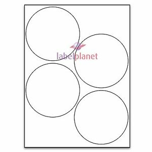 4 Per Page 100mm Blank White A4 Circular Round Sticky