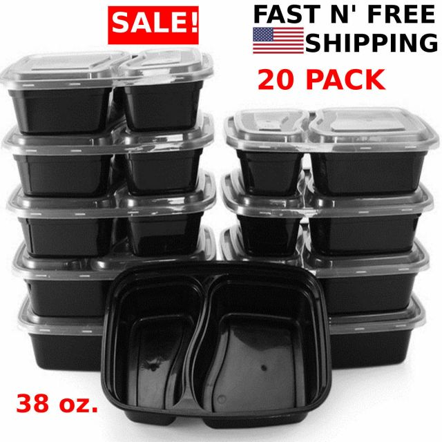 20 Meal Prep Containers 2 Compartment Food Storage Plastic Reusable Microwavable 2