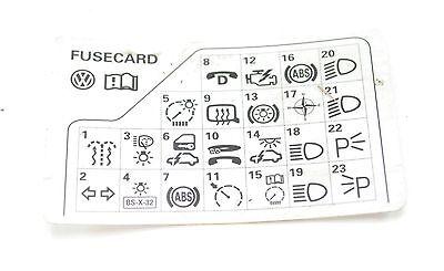 VW Passat B5 98-05 Fuse Diagram Reference Card 3B0 010 207