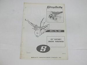 Simplicity No. 487 42 inch Rotary Snow Thrower Operators