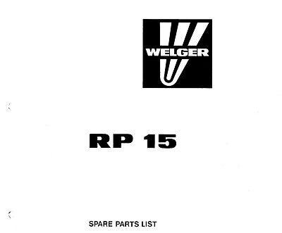 Welger RP15 Baler Parts Manual (PDF file) SPARE PARTS LIST
