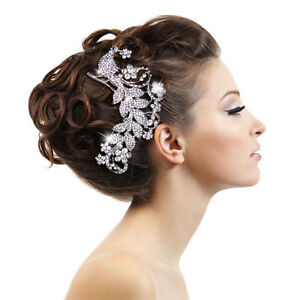 hot wedding peacock flower hair b tiara clear rhinestone crystal bird e653 ebay