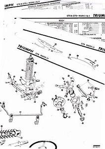 TRIUMPH GT6 GT6+ MARK I II III BODY PARTS LIST CRASH
