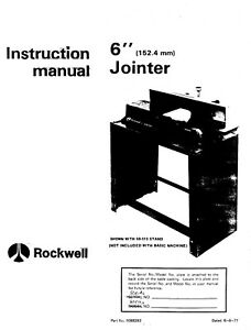 Rockwell 6-inch Jointer 37-600 Instruction Manual