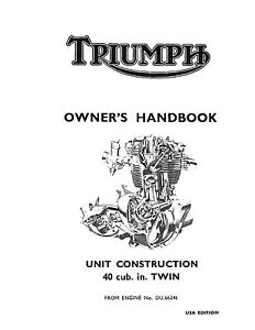 Triumph Owners Manual Book 1968 TR6R, TR6C & T120R Tiger