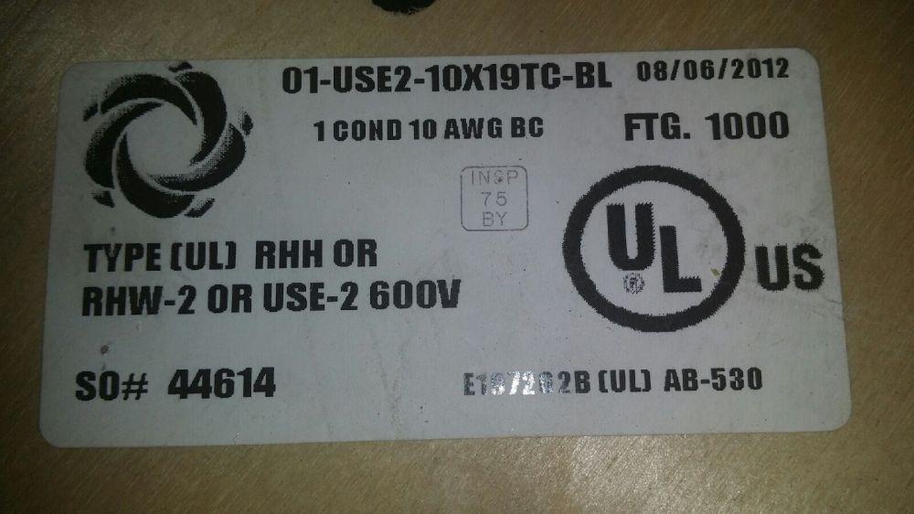 medium resolution of 01 use 2 10 awg 19 strand rhh or rhw 2 600v copper center 250 ft for sale online ebay