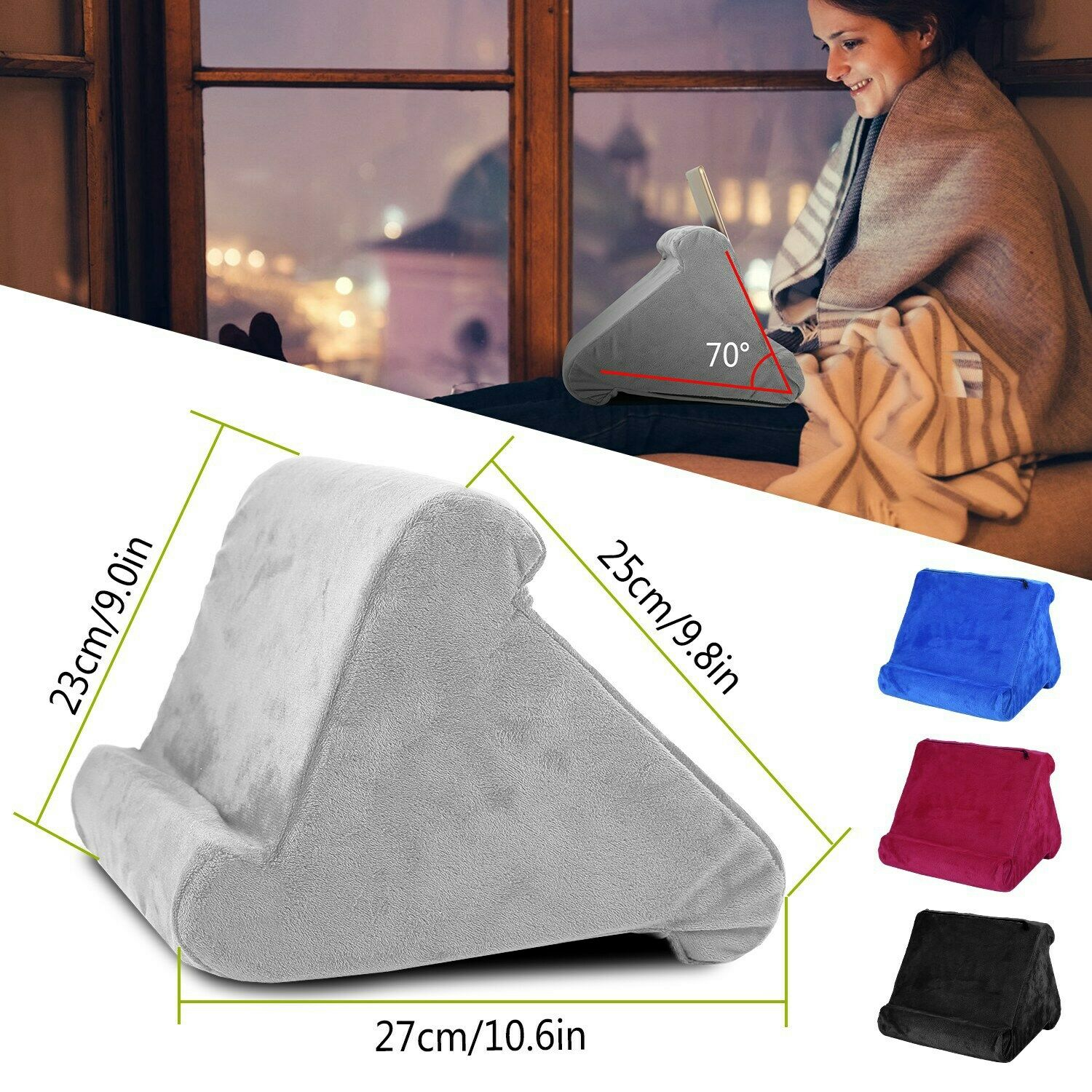 Ipad Pillow For Bed Sofa Stand Holder Pockets Storage Cushion Tablet Black 10 9 For Sale Online Ebay