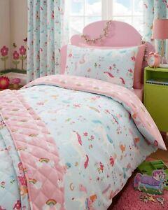 details sur magique licorne fees avec couette dessus de lit couvre lit 3 ensemble de lit tailles ou rideaux afficher le titre d origine