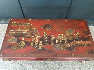 details sur table basse ancienne decor chinois