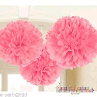 LIGHT PINK FLUFFY DECORATIONS (3) ~ Wedding Bridal Baby ...