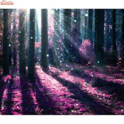 fantasy purple forest background nature 3d tree wall mural wood