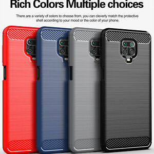 For Xiaomi Redmi K30 Pro Note 9S Slim Fiber Carbon Silicone Rugged Case Cover