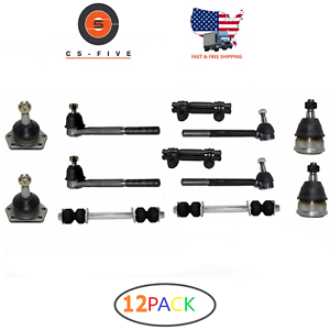 HD 12 PCS Ball Joint Tie Rod Idler Arm Sway Bar Link Kit