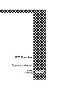 CASE IH 1670 HILLSIDE COMBINE PN JJC0080540 OPERATOR`S
