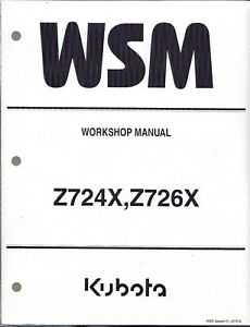 Kubota Z724X,Z726X Zero Turn Mower Workshop Repair Manual