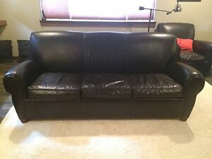 pottery barn leather sleeper sofa chaise sectional slipcover manhattan couch ebay image is loading