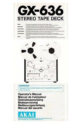 Bedienungsanleitung-Operating Instructions für Akai GX-636