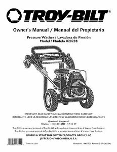 Troy-Bilt Pressure Washer Manual 2600 psi Model # 020208
