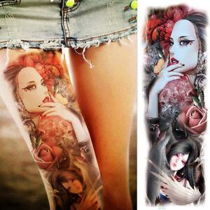 Tribal Realistic Big Full Arm Temporary Tattoo Sleeve For Women
