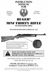 Ruger Mini Thirty Rifle Instruction Manual With Free DVD