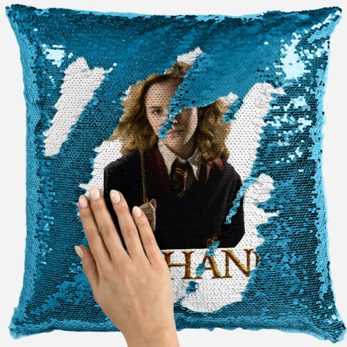 personalised harry potter any name magic reveal blue sequin cushion cover 9
