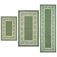 Green Kitchen Mat Country Style Tables Throw Rugs 3 Piece Set Bath Bedroom Area Floor Image Is Loading