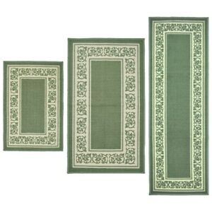 green kitchen rug pink aid mixer throw rugs 3 piece set bath bedroom area floor mat image is loading