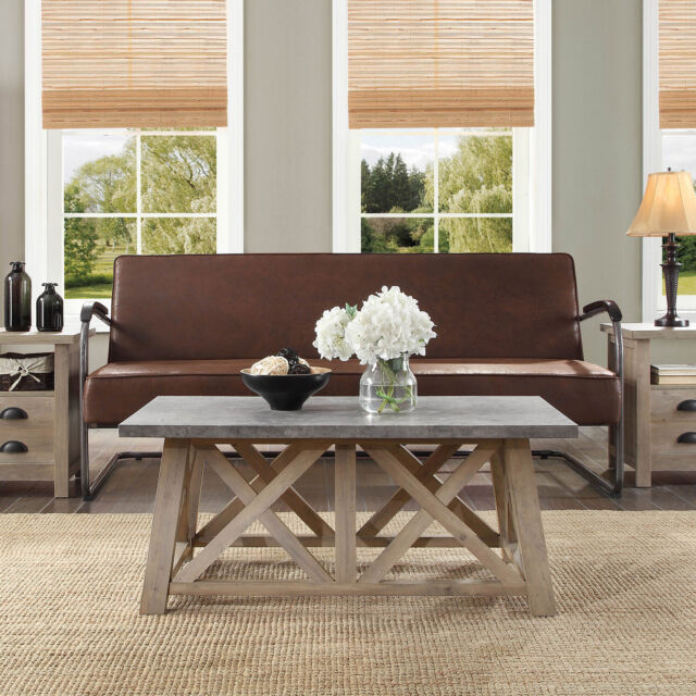granary modern wooden farmhouse coffee table indoor furniture rustic gray finish