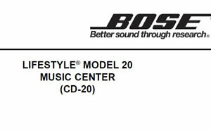 BOSE LIFESTYLE MODEL 20 MUSIC CENTER CD-20 SERVICE MANUAL