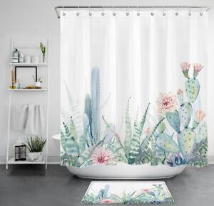details about watercolor cactus flower succulent plants waterproof fabric shower curtain set