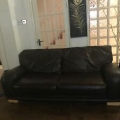 Good Sofa Sets Natuzzi Editions Leather Set Used Dfs Real Dark Brown Condition Ebay Image Is Loading