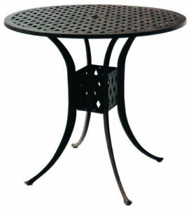 details about bar height patio table nassau 48 round cast aluminum outdoor furniture