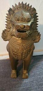 "Chinese Bronze Brass Guardian Foo Fu Dog Door Lion Statue 12.5"" tall, 11 pounds!"