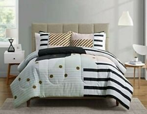 details about vcny your zone rizo twin xl duvet set 2 pc girls bedding black gold pink new