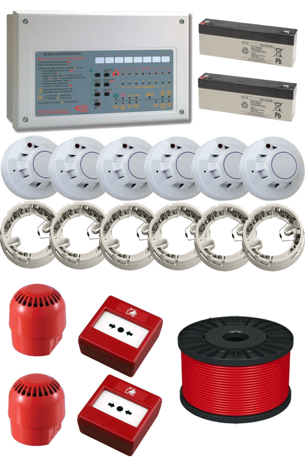 hight resolution of details about wired conventional 2 zone fire alarm kit with fireproof cable used by the pros