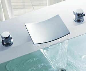 details about flg deck mount two handle widespread waterfall bathroom bath tub faucet chrome 7