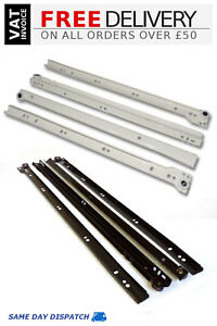 kitchen drawer slides tuscan sunflower decor metal roller bottom fix runners 250mm image is loading