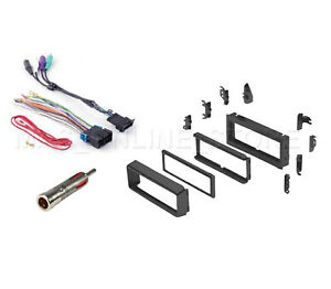 Single DIN Dash Kit Amp Wire Harness Antenna for 00-03