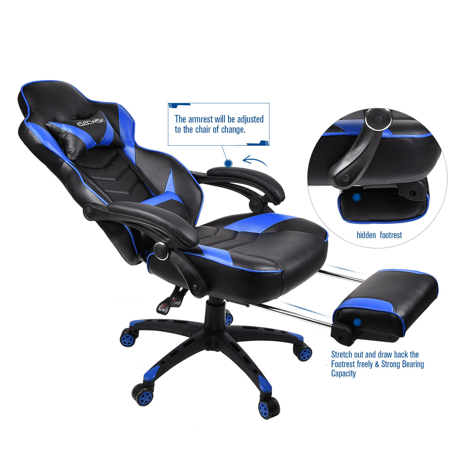 reclining gaming chair lyre back chairs and table office racing seats computer high executive footrest rocker us ebay